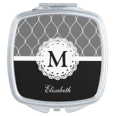 Chic Black And White Lace Pattern Custom Monogram Compact Mirror at Zazzle