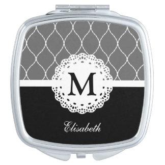Chic Black and White Lace Pattern Custom Monogram Vanity Mirrors