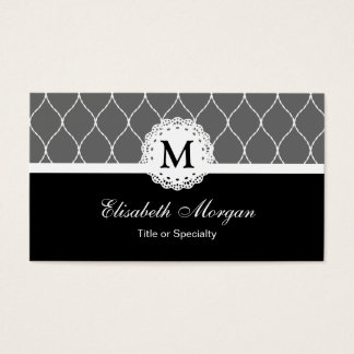 Chic Black and White Lace Pattern - Monogram Business Card