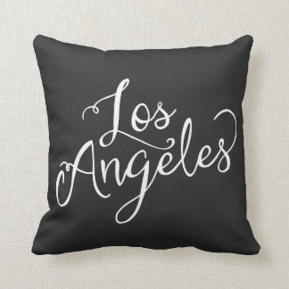 Chic Black and White Los Angeles Typography Throw Pillow