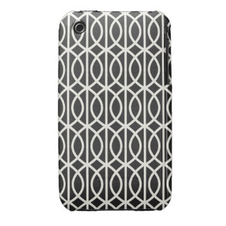 Chic Black and White Moroccan Trellis Pattern Case-Mate iPhone 3 Case
