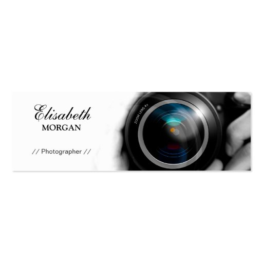 Chic Black and White Photographer Camera Lens Business Card Template