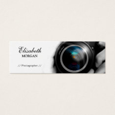 Chic Black and White Photographer Camera Lens Mini Business Card at Zazzle