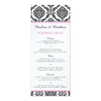 Chic Black and White Pink Damask Wedding Menu 4x9.25 Paper Invitation Card