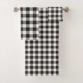 Chic Black and White Plaid Pattern Bath Towel Set