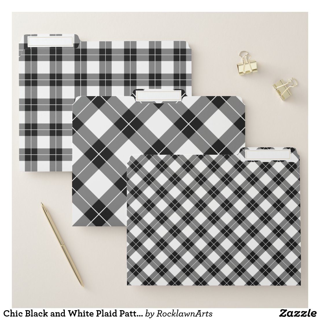 Chic Black and White Plaid Pattern File Folder