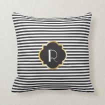 Chic Black and White Stripe Gold Monogram Throw Pillow