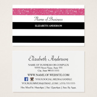 Chic Black and White Stripes Pink FAUX Glitz Business Card
