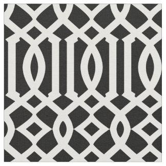 Chic Black and White Trellis Lattice Pattern Fabric