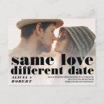 Chic black and white wedding photo same love announcement postcard