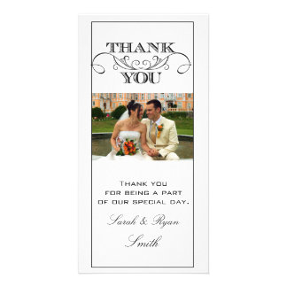 Chic Black and White Wedding Thank You Photo Cards