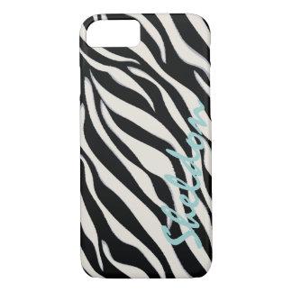 Chic black and white zebra print monogram iPhone 7 case