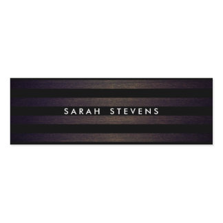 Chic Black and Wood Striped Modern Interior Design Double-Sided Mini Business Cards (Pack Of 20)