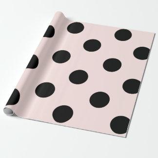 Chic Black & Blush Pink Polka Dots Pattern Wedding Wrapping Paper