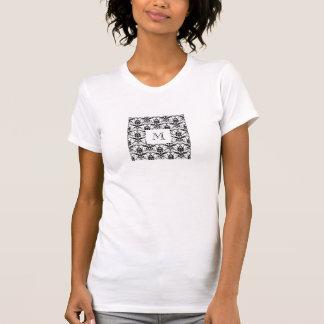 Chic Black Damask Pattern Custom Initial Monogram T-Shirt