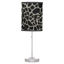 Chic Black Giraffe Print Elegant Animal Pattern Table Lamp