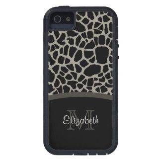 Chic Black Giraffe Print Elegant Monogram iPhone 5/5S Case