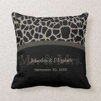 Chic Black Giraffe Wedding Elegant Monogram Pillows