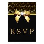 Chic Black Gold Chevrons Diamond Bow RSVP Card