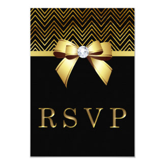Chic Black Gold Chevrons Diamond Bow RSVP Card