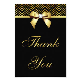 Chic Black Gold Chevrons Diamond Bow Thank You Card