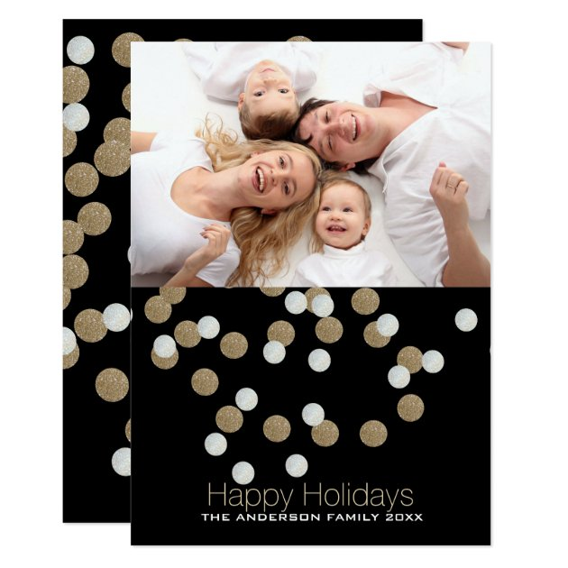 Chic Black Gold Confetti Happy Holidays Photo Card