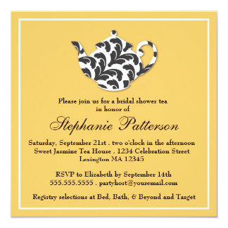 Chic Black & Gold Damask Bridal Shower Tea Party 5.25x5.25 Square Paper Invitation Card
