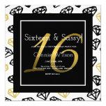 Chic Black & Gold Diamond 16th Birthday Invitation