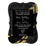 Chic black gold elegant formal wedding 5x7 paper invitation card