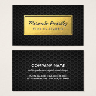 Chic Black & Gold Faux Gold Foil Dark Metal Grid Business Card