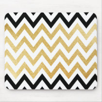 Chic black gold faux leaf chevron patterns mouse pad