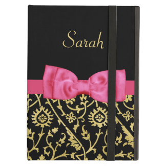 Chic Black Gold Floral Damask Pink Bow and Name iPad Air Case
