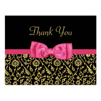 Chic Black Gold Floral Damask Pink Bow Thank You Postcard