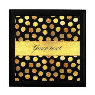Chic Black Gold Foil Confetti Dots Jewelry Box