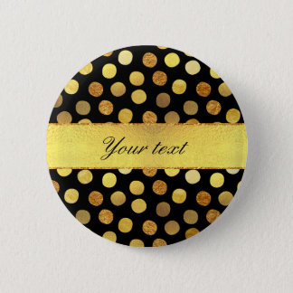 Chic Black Gold Foil Confetti Dots Pinback Button
