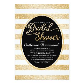 Chic Black Gold Glitter Personalized Bridal Shower 5x7 Paper Invitation Card