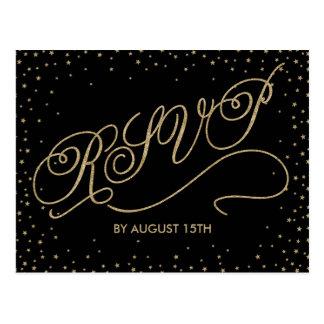 Chic Black & Gold Glitter Stars RSVP Postcard