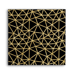 Chic Black Gold Glitter Stripe Geometric Pattern Envelope