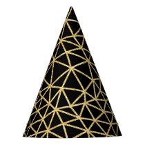 Chic Black Gold Glitter Stripe Geometric Pattern Party Hat