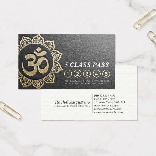Chic Black Gold OM Mandala YOGA Class Pass Loyalty Business Card