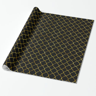 Chic Black Gold Quatrefoil Wrapping Paper
