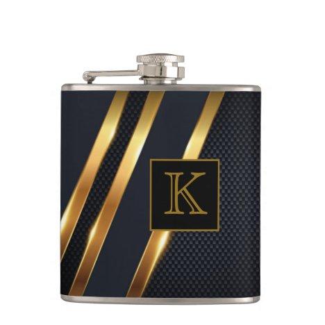 Chic Black & Gold Striped Monogrammed Flask