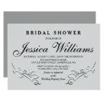 Chic Black, Gray & Silver Bridal Shower Invitation