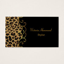 Chic Black & Jaguar Print Business Card