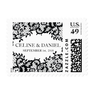 Chic Black Lace Personalized Wedding Postage