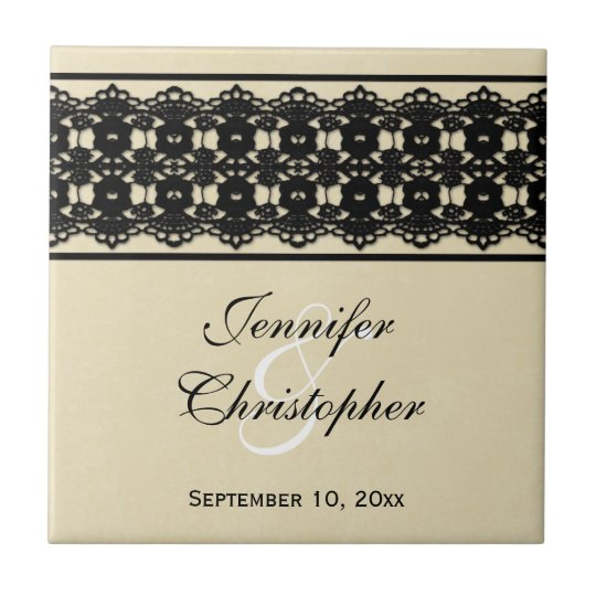 Chic black lace wedding ceremony favor tile