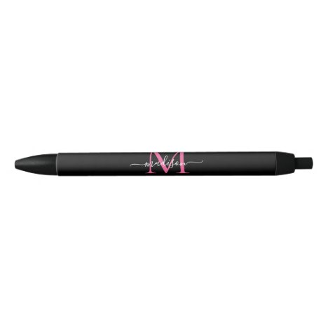Chic Black Magenta Pink Monogram Script Name Black Ink Pen