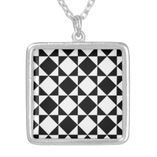 Chic Black Modern Faux Diamond Check Pattern Square Pendant Necklace