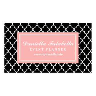 Chic Black Moroccan Lattice Personalized Double-Sided Standard Business Cards (Pack Of 100)