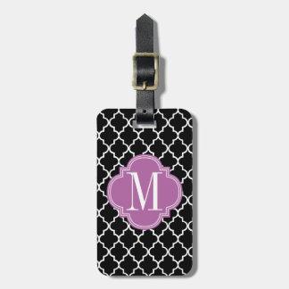Chic Black Moroccan Lattice Personalized Luggage Tag